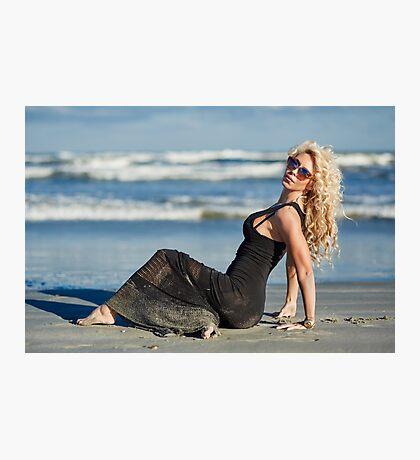 Beautiful woman on the beach Photographic Print