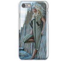 Sexy woman in cardigan on the sea shore iPhone Case/Skin