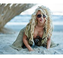 Gorgeous sexy blond on the beach Photographic Print
