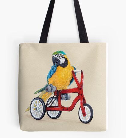 Parrot Macaw bike red Tote Bag