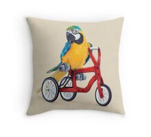 Parrot Macaw bike red Throw Pillow