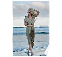 Beautiful woman on the sea shore Poster