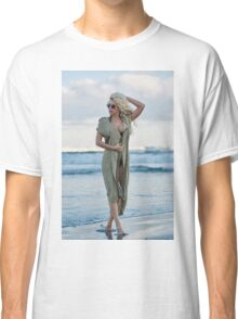 Beautiful woman on the sea shore Classic T-Shirt