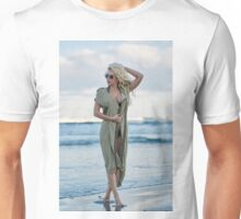 Beautiful woman on the sea shore Unisex T-Shirt