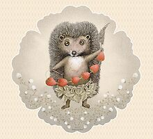 Animal Hedgehog Strawberry by Ruta Dumalakaite