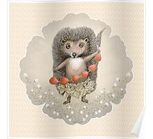 Animal Hedgehog Strawberry Poster