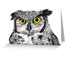 Owl with Yellow Eyes Greeting Card
