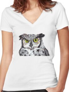 Owl with Yellow Eyes Women's Fitted V-Neck T-Shirt