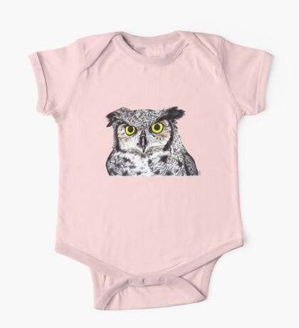 Owl with Yellow Eyes One Piece - Short Sleeve
