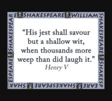 His Jest Shall Savour - Shakespeare One Piece - Short Sleeve