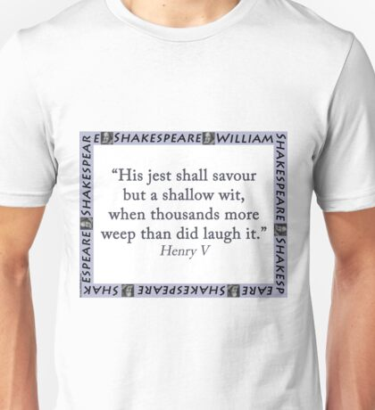 His Jest Shall Savour - Shakespeare Unisex T-Shirt