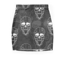 Terrible frightening seamless pattern with skull Mini Skirt