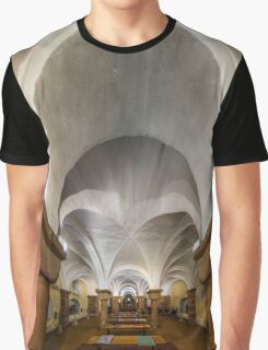 Majestic medieval cathedral interior view, old gothic church  Graphic T-Shirt