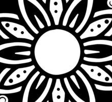 Floral Lotus Mandala Black Sticker