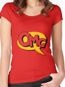 Comics Bubble with Expression OMG in Vintage Style Women's Fitted Scoop T-Shirt