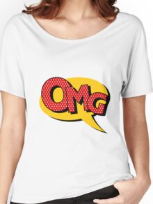 Comics Bubble with Expression OMG in Vintage Style Women's Relaxed Fit T-Shirt