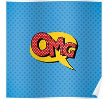 Comics Bubble with Expression OMG in Vintage Style Poster