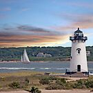 Twi-light At Edgartown Harbor Light by phil decocco