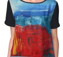 Red Flowers Blue Mountains Abstract Landscape Chiffon Top