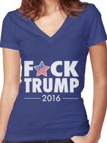 F*CK Trump! Women's Fitted V-Neck T-Shirt