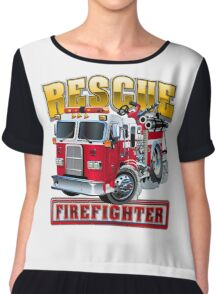 Vector Cartoon Fire Truck Chiffon Top