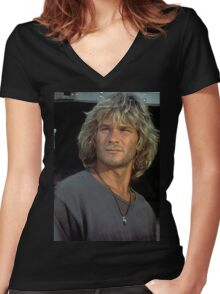 Patrick Swayze Women's Fitted V-Neck T-Shirt
