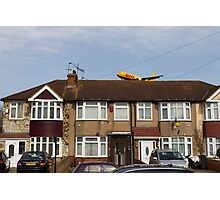 DHL Airbus A300 Emerging From A House Photographic Print