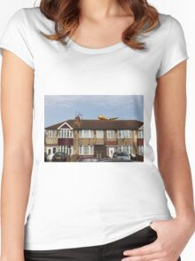 DHL Airbus A300 Emerging From A House Women's Fitted Scoop T-Shirt