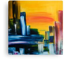 City Sunrise Contemporary Abstract Cityscape Canvas Print