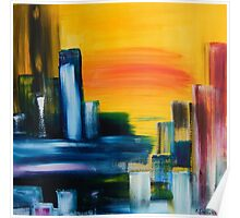 City Sunrise Contemporary Abstract Cityscape Poster