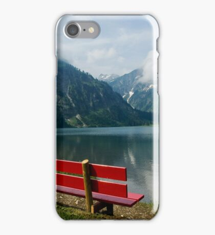 Red bench with a view iPhone Case/Skin