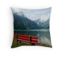 Red bench with a view Throw Pillow