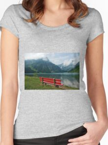 Red bench with a view Women's Fitted Scoop T-Shirt