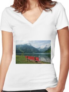 Red bench with a view Women's Fitted V-Neck T-Shirt