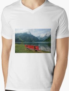 Red bench with a view Mens V-Neck T-Shirt