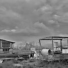 Disused Truck and Factory b&w by jojobob