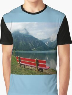 Red bench with a view Graphic T-Shirt