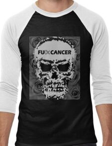Fuck Cancer // Pixel Skull // Flowers  Men's Baseball ¾ T-Shirt