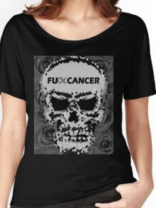 Fuck Cancer // Pixel Skull // Flowers  Women's Relaxed Fit T-Shirt