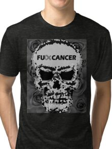 Fuck Cancer // Pixel Skull // Flowers  Tri-blend T-Shirt