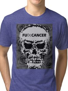 Fuck Cancer // Pixel Skull // Flowers  Tri-blend T-Shirt