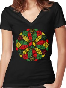 Ornamental Peace Mandala - Rasta Colours Women's Fitted V-Neck T-Shirt