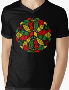 Ornamental Peace Mandala - Rasta Colours Mens V-Neck T-Shirt