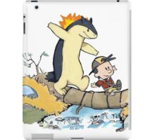 calvin and hobbes meets pokemon iPad Case/Skin
