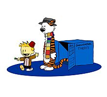calvin and hobbes meets tardis box Photographic Print