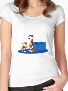 calvin and hobbes meets tardis box Women's Fitted Scoop T-Shirt