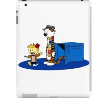 calvin and hobbes meets tardis box iPad Case/Skin