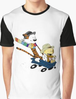 calvin and hobbes meets tardis go Graphic T-Shirt