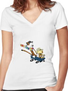 calvin and hobbes meets tardis go Women's Fitted V-Neck T-Shirt