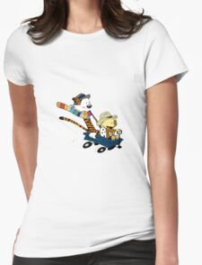calvin and hobbes meets tardis go Womens Fitted T-Shirt